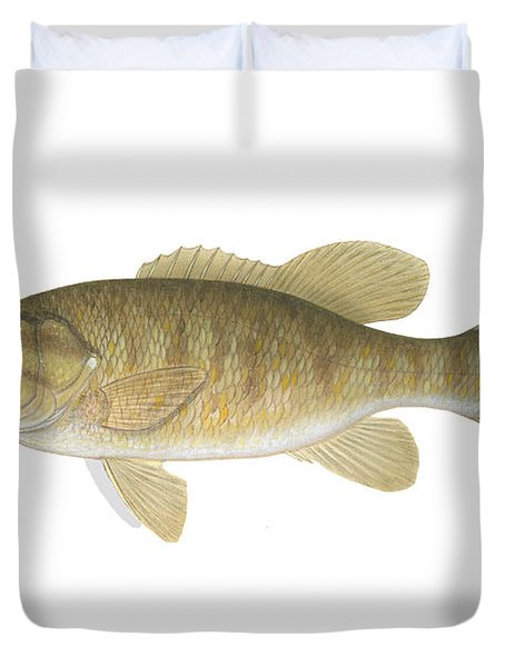 Illustration Of A Smallmouth Bass Duvet Cover by Carlyn Iverson