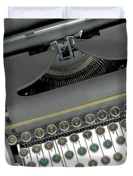 Imagination typewriter Duvet Cover by Rudy Umans