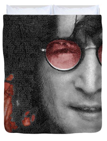 Imagine John Lennon Again Duvet Cover by Tony Rubino
