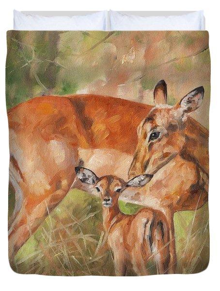 Impala Antelop Duvet Cover by David Stribbling