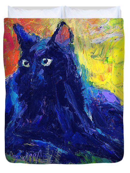 Impasto Black Cat Painting Duvet Cover by Svetlana Novikova