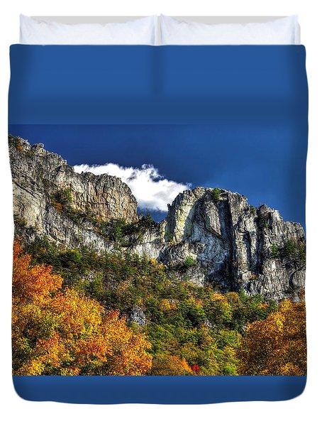 Imposing Seneca Rocks - Seneca Rocks National Recreation Area Wv Autumn Mid-afternoon Duvet Cover by Michael Mazaika