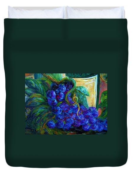 Impressionist Grapes and Wine Duvet Cover by Eloise Schneider