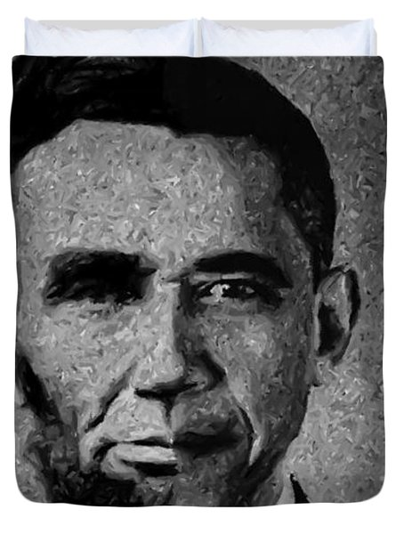 Impressionist Interpretation of Lincoln Becoming Obama Duvet Cover by Michael Braham