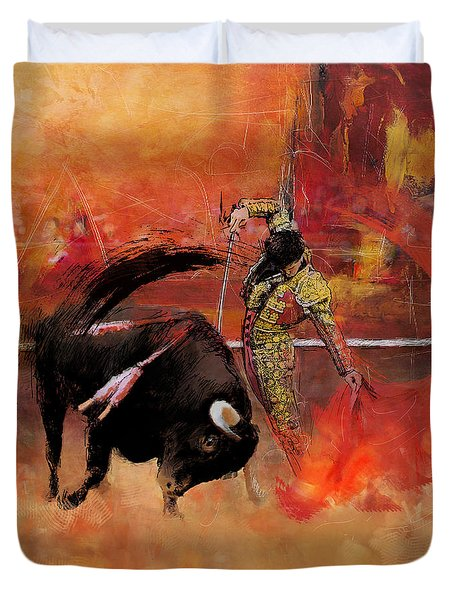 Impressionistic Bullfighting Duvet Cover by Corporate Art Task Force