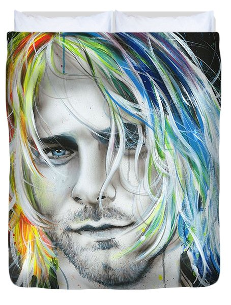Kurt Cobain - ' In Debt For My Thirst ' Duvet Cover by Christian Chapman Art