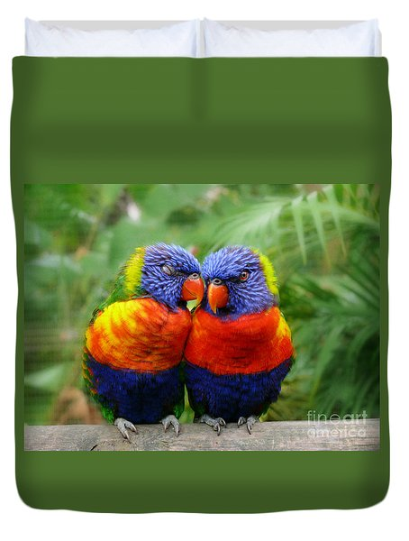 In Love Lorikeets Duvet Cover by Peggy  Franz