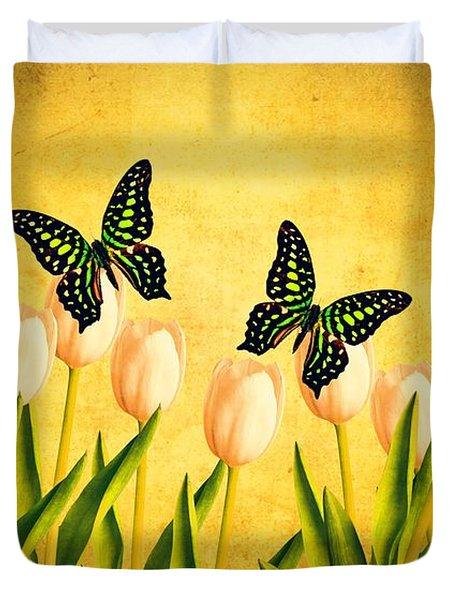 In The Butterfly Garden Duvet Cover by Edward Fielding