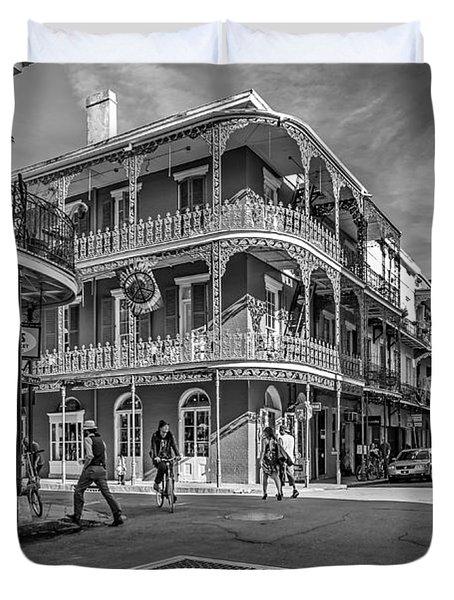 In The French Quarter Monochrome Duvet Cover by Steve Harrington
