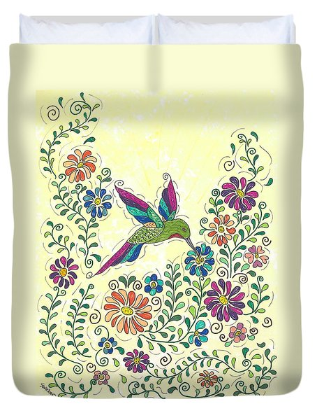 In The Garden - Hummer Duvet Cover by Susie WEBER