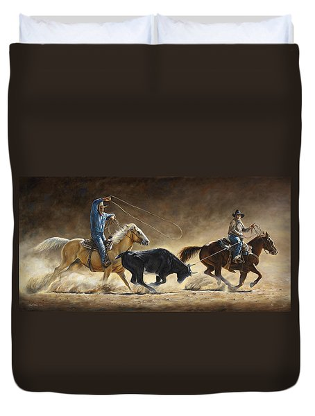In The Money Duvet Cover by Kim Lockman
