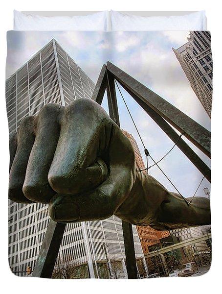 In Your Face -  Joe Louis Fist Statue - Detroit Michigan Duvet Cover by Gordon Dean II
