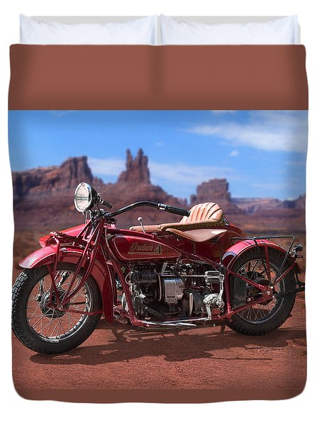 Indian 4 Sidecar 2 Duvet Cover by Mike McGlothlen