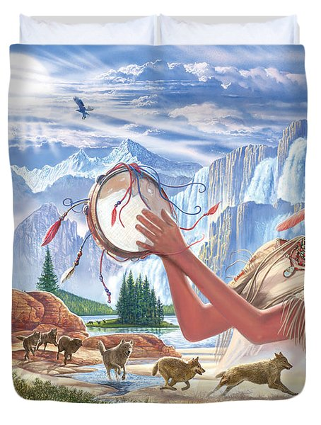 Indian Squaw And The Wolves Duvet Cover by Steve Crisp