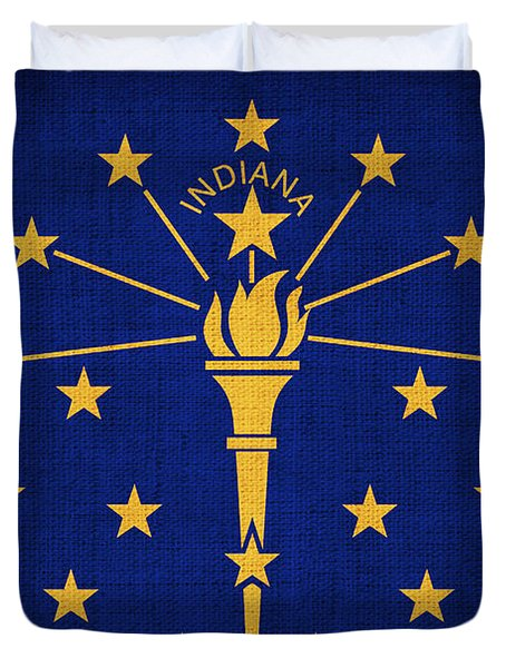 Indiana State Flag Duvet Cover by Pixel Chimp