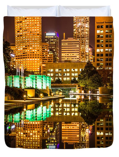 Indianapolis Skyline At Night Canal Reflection Picture Duvet Cover by Paul Velgos