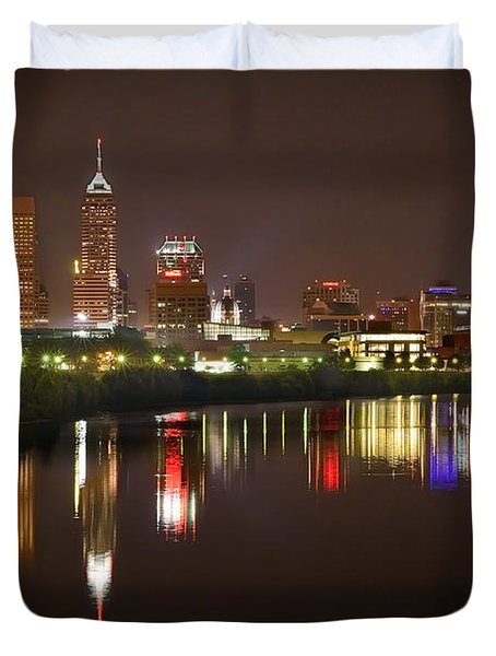 Indianapolis Skyline At Night Indy Downtown Color Panorama Duvet Cover by Jon Holiday