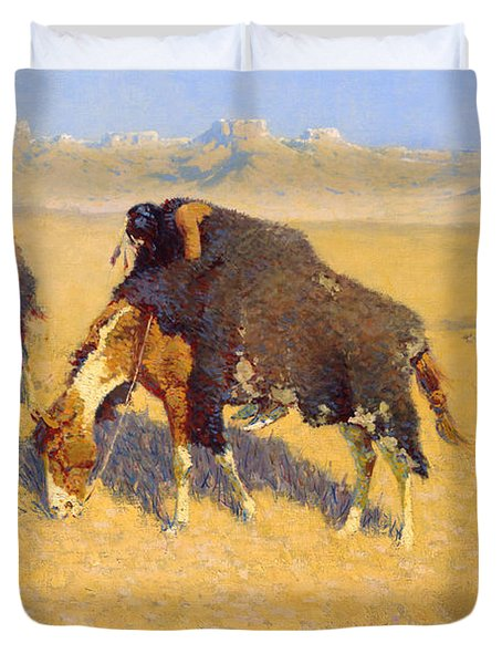 Indians Simulating Buffalo Duvet Cover by Fredrick Remington