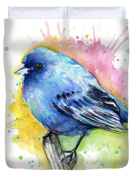 Indigo Bunting Blue Bird Watercolor Duvet Cover by Olga Shvartsur