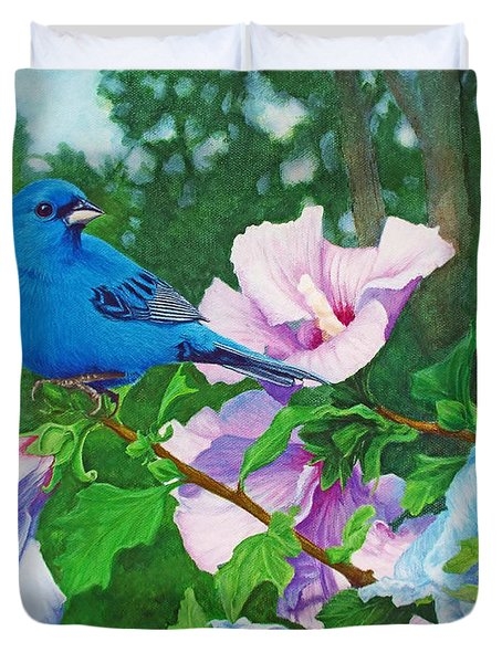 Indigo Bunting  Duvet Cover by Ken Everett