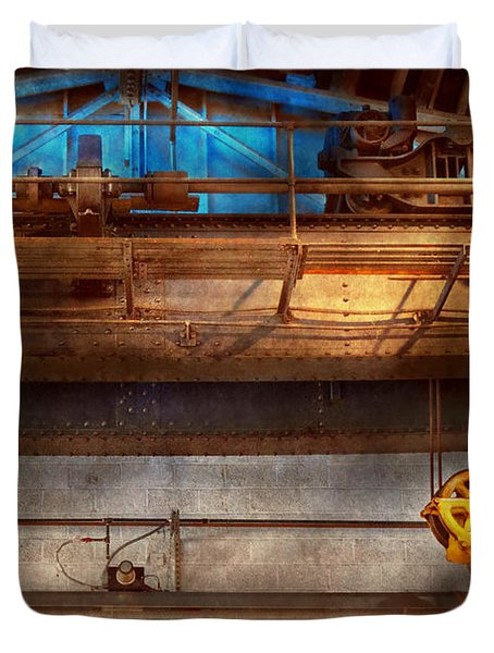 Industrial - The Gantry Crane Duvet Cover by Mike Savad