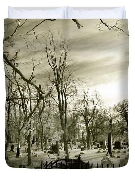 Infrared Cemetery Duvet Cover by Gothicolors Donna Snyder