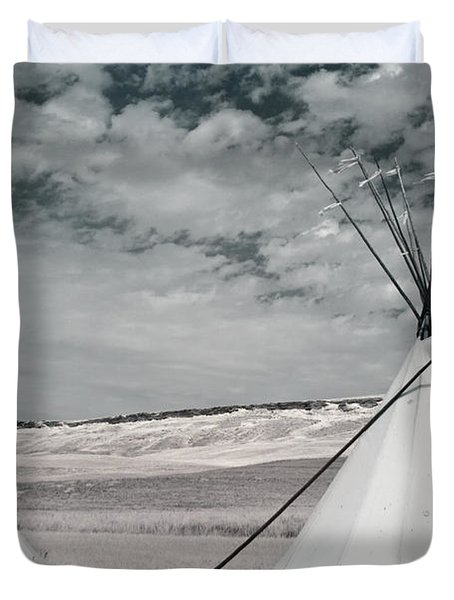 Infrared Image Of Native American Tipis Duvet Cover by Roberta Murray