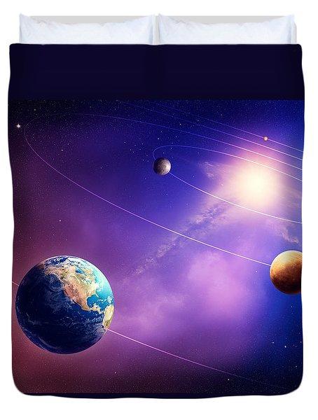 Inner solar system planets Duvet Cover by Johan Swanepoel