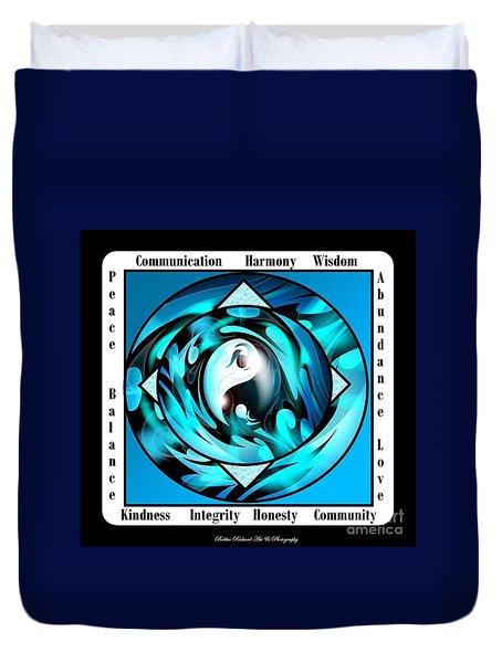 Inspirational Yin Yang  Duvet Cover by Bobbee Rickard