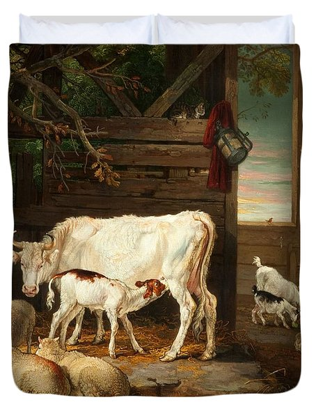 Interior Of A Stable, 1810 Duvet Cover by James Ward