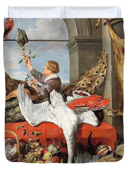 Interior Of An Office, Or Still Life With Game, Poultry And Fruit, C.1635 Oil On Canvas Duvet Cover by Frans Snyders or Snijders