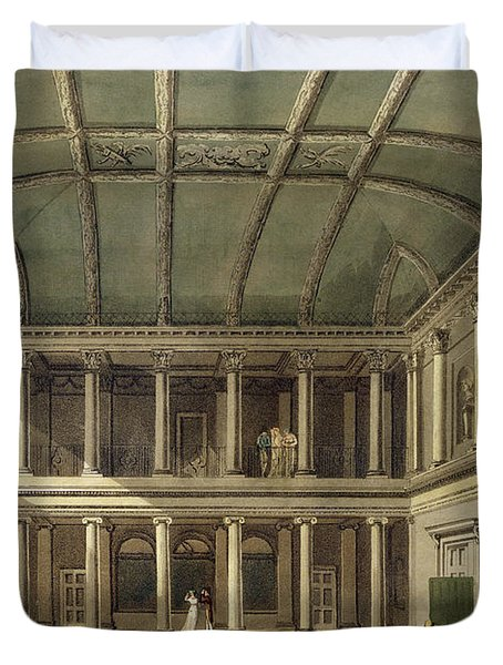 Interior Of Concert Room, From Bath Duvet Cover by John Claude Nattes