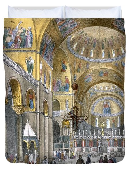Interior Of San Marco Basilica, Looking Duvet Cover by Italian School