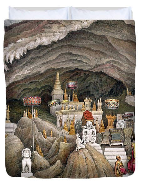 Interior Of The Grotto Of Nam Hou Duvet Cover by Louis Delaporte
