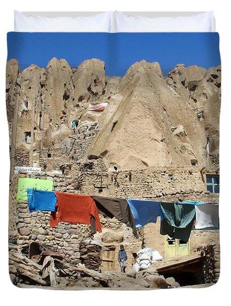 Iran Kandovan Stone Village Laundry Duvet Cover by Lois Ivancin Tavaf