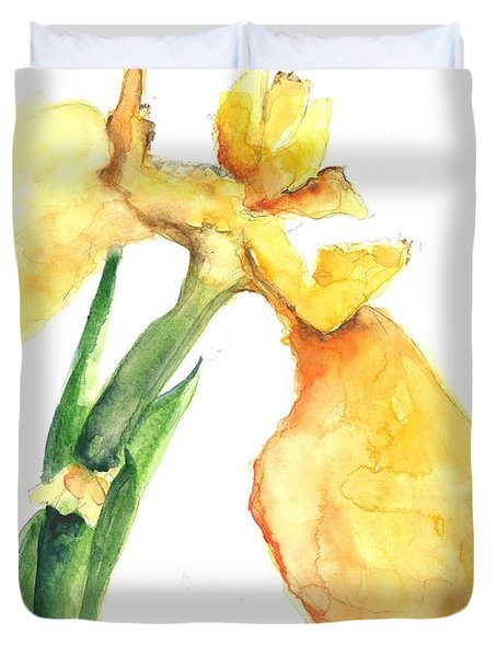 Iris Blooms  Duvet Cover by Sherry Harradence