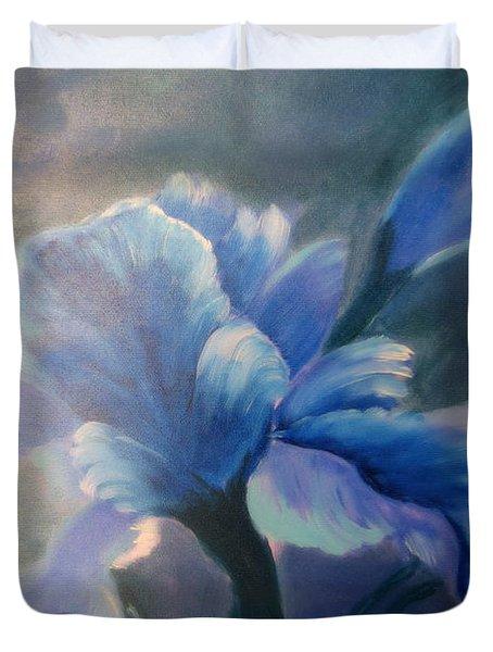Iris Blue Duvet Cover by Kay Novy
