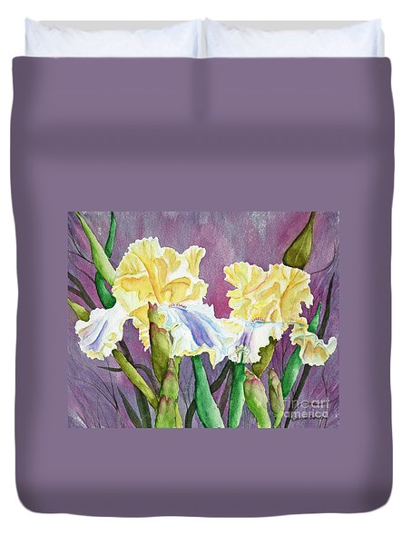 Iris Cream Duo Duvet Cover by Kathryn Duncan