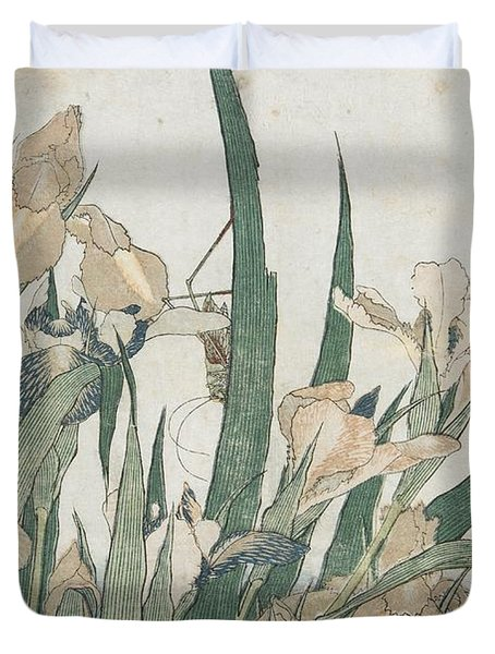 Iris Flowers And Grasshopper Duvet Cover by Hokusai