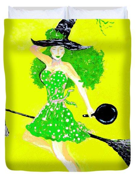 Irish Kitchen Witch Duvet Cover by Alys Caviness-Gober