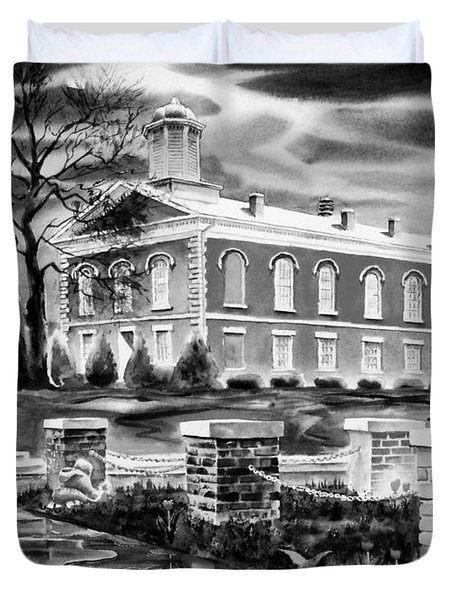 Iron County Courthouse IIi - Bw Duvet Cover by Kip DeVore