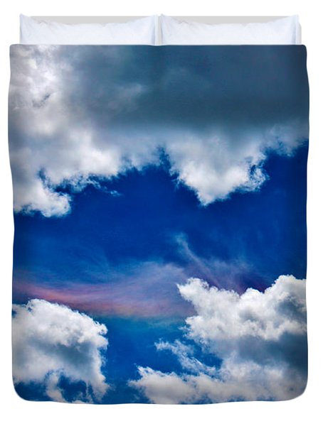 Irridescent Rainbows Among The Clouds Duvet Cover by Janice Rae Pariza