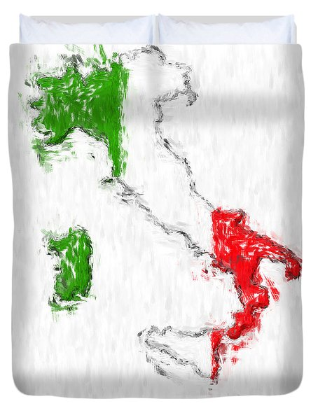 Italy Painted Flag Map Duvet Cover by Antony McAulay