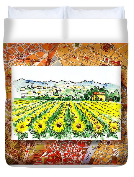Italy Sketches Sunflowers Of Tuscany Duvet Cover by Irina Sztukowski