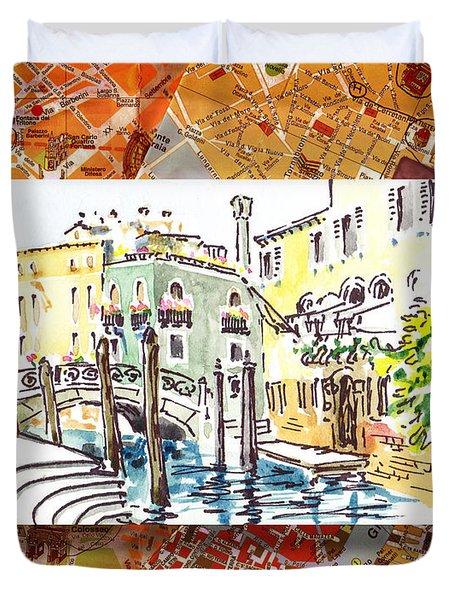 Italy Sketches Venice Canale Duvet Cover by Irina Sztukowski