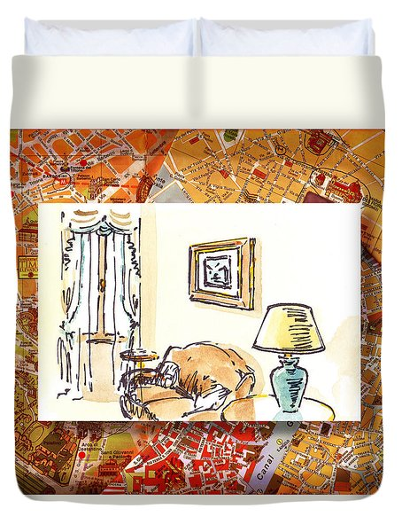 Italy Sketches Venice Hotel Duvet Cover by Irina Sztukowski