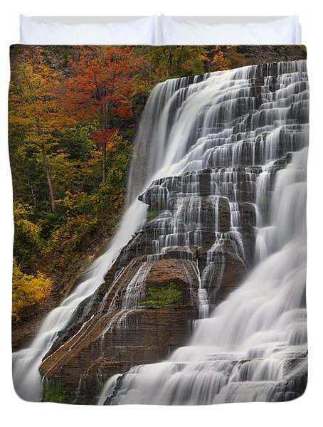 Ithaca Falls In Autumn Duvet Cover by Michele Steffey
