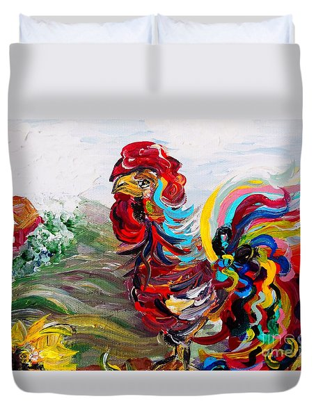It's A Cockadoodle Do Morning Duvet Cover by Eloise Schneider