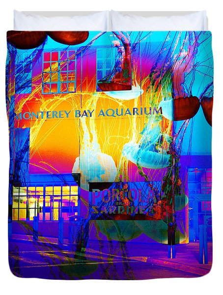 Its Raining Jelly Fish At The Monterey Bay Aquarium 5D25177 Square Duvet Cover by Wingsdomain Art and Photography