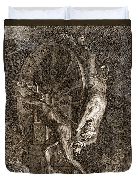 Ixion In Tartarus On The Wheel, 1731 Duvet Cover by Bernard Picart